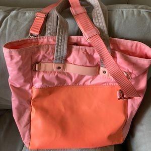Lululemon Bright Orange Pink Zen'd Tote Beach Bag